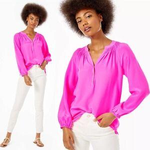 LILLY PULITZER Top Elsa Silk Pink Raz Berry Tunic